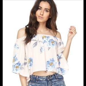 Tops - Off Shoulder Floral Print Top
